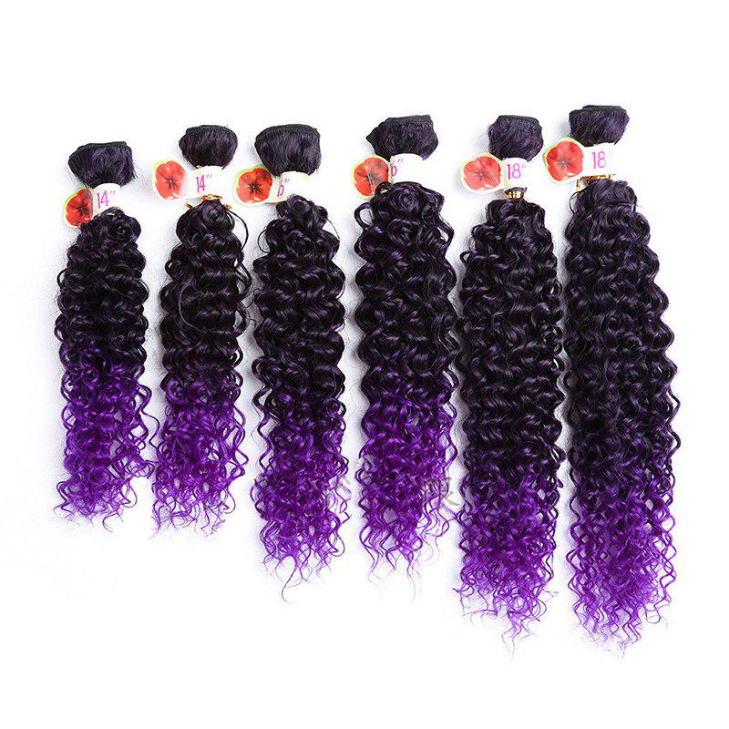 6PCS 14~18 Inches Colormix Jerry Wave Hair Weaves - PURPLE