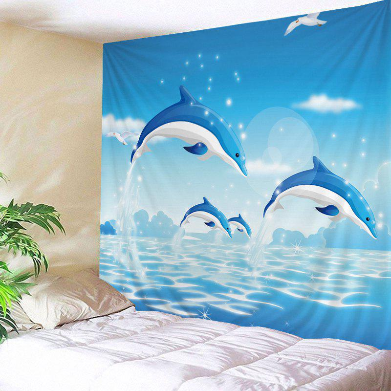 Wall Hanging Art Ocean Dolphin Print Tapestry - LAKE BLUE W79 INCH * L59 INCH