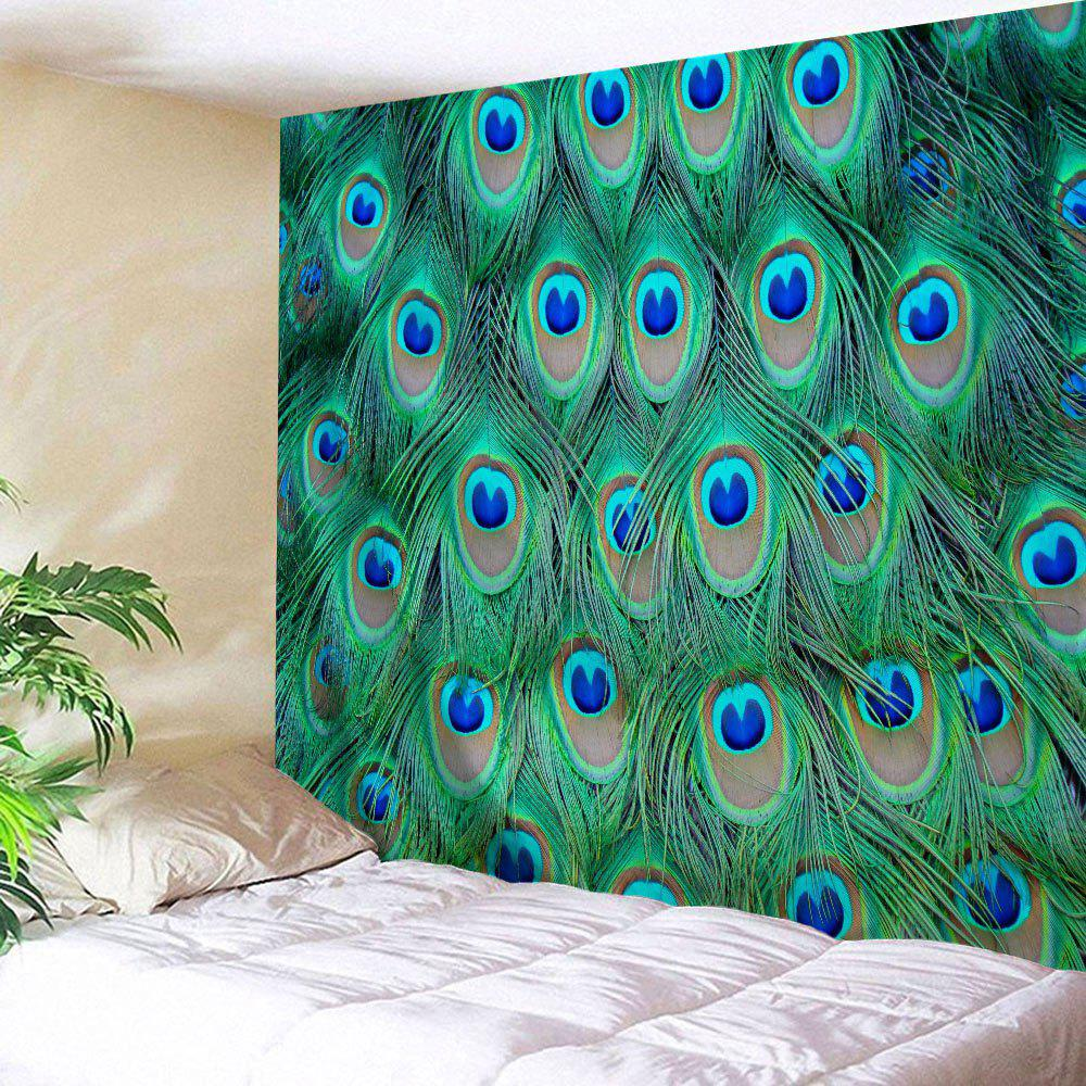 Peacock Feather Wall Decor Hanging Throw Tapestry   MALACHITE GREEN W59  INCH * L79 INCH