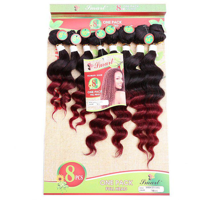 8PCS Different Sizes Caribbean Deep Wave Hair Weaves - WINE RED