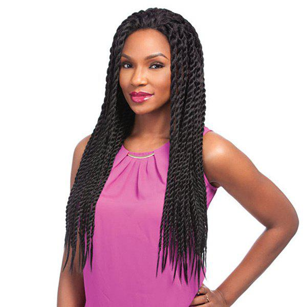 Longue perruque synthétique à la dentelle Sentigal Twists Braids - Noir Naturel