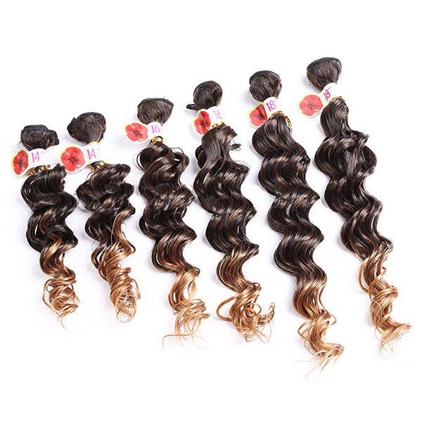 6PCS Ombre Colormix Deep Wave Synthetic Hair Weaves - Graduel Brun