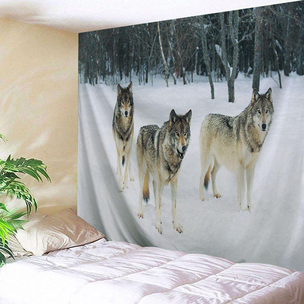 Snowfield Wolf Wall Hanging Fabric Throw Tapestry wall hanging watercolor space throw tapestry