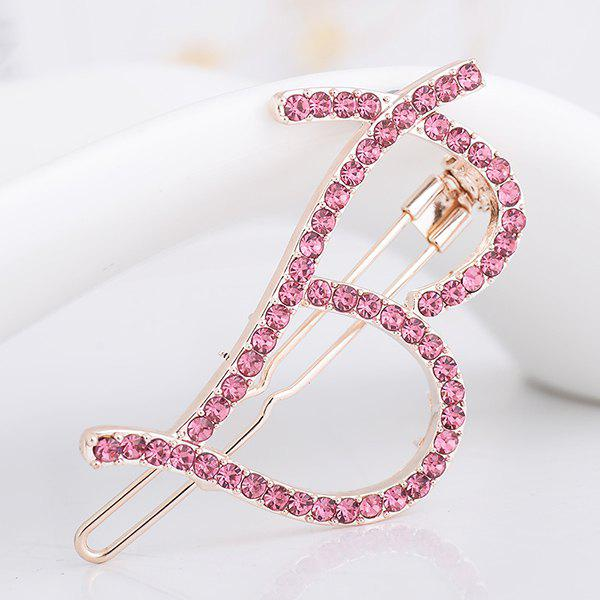 Letter B Shape Rhinestone Inlay Hairclip - PAPAYA