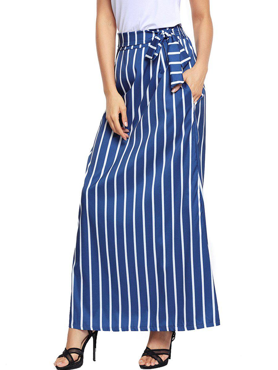 Striped Pockets Maxi Skirt - BLUE M
