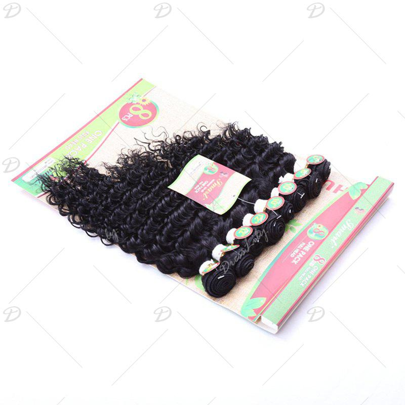 8PCS Different Sizes Unprocessed Remy Curly Blended Hair Weaves - BLACK
