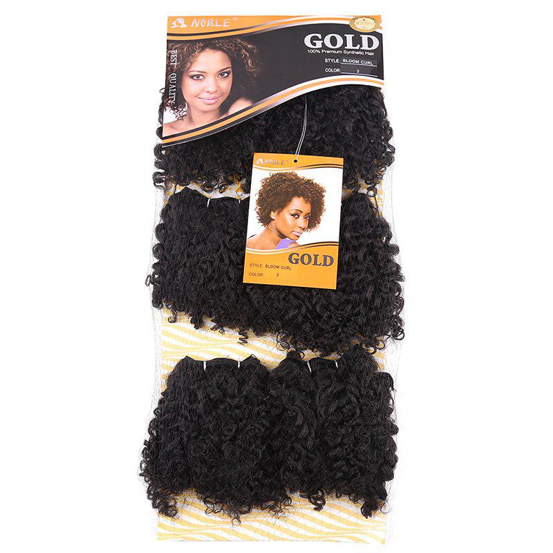 6PCS Short Shaggy Colormix Bloom Afro Curly Synthetic Hair Weaves - Noir