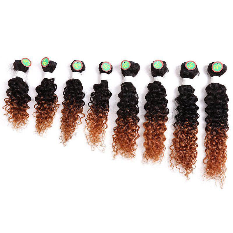 8PCS Human Hair Mixed Synthetic Fiber Caribbean Jerry Curly Hair Weaves - BROWN