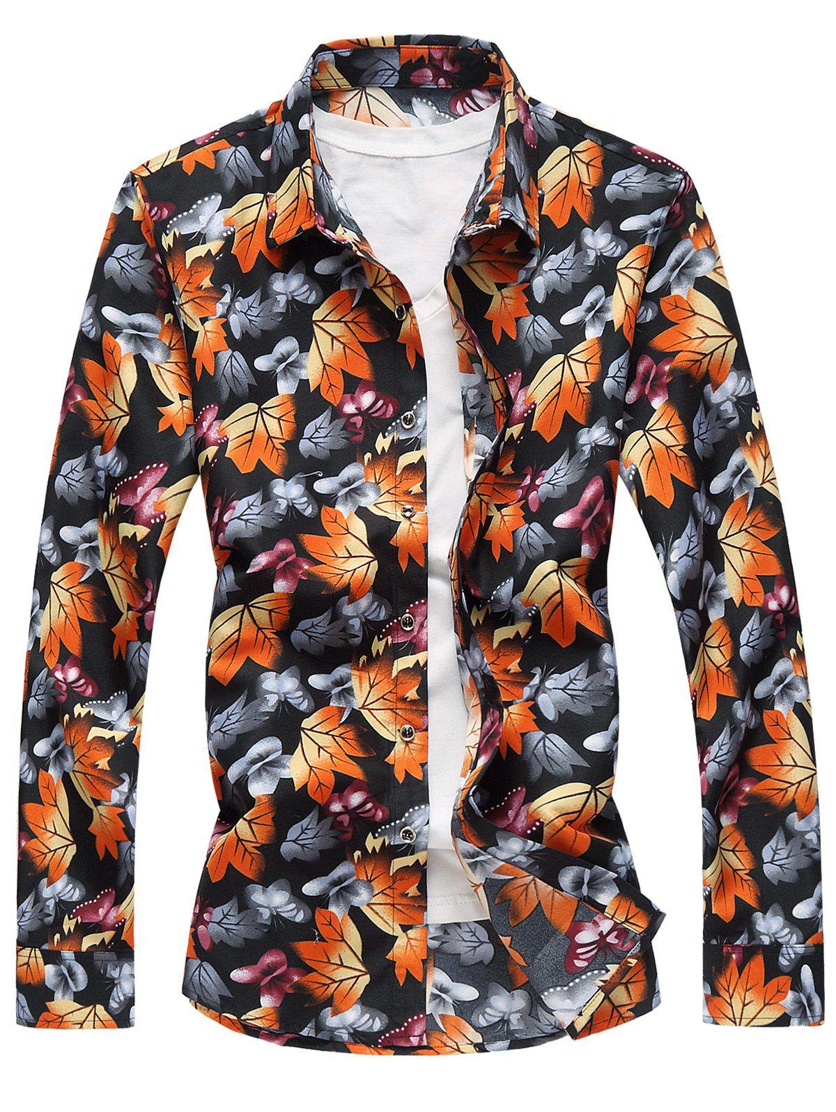 3D Butterflies and Maple Leaves Print Plus Size Shirt - COLORMIX 7XL