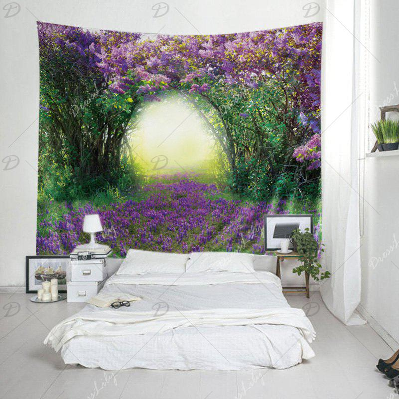 Wall Hanging Art Floral Tree Print Tapestry - GREEN W79 INCH * L71 INCH