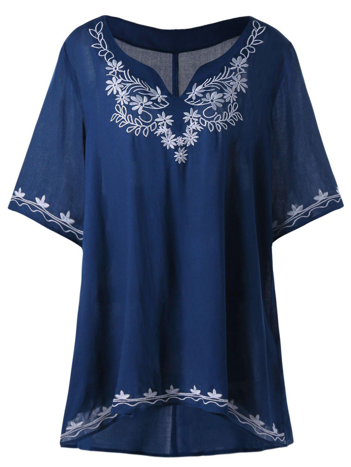 Plus Size Embroidered High Low Tunic Blouse plus size embroidered high low tunic blouse