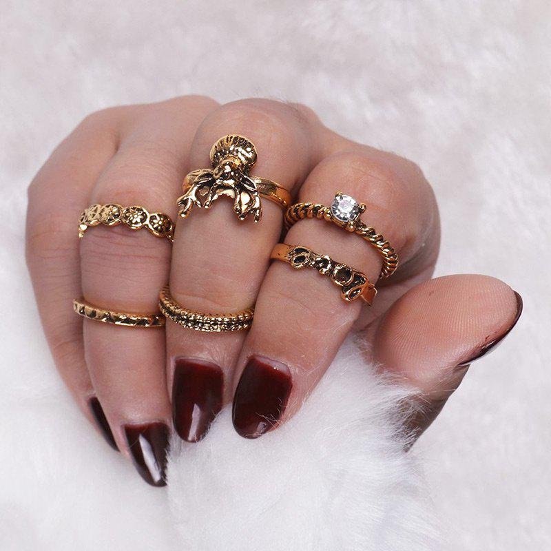 Rhinestone Deer Love Heart Finger Ring Set - Or