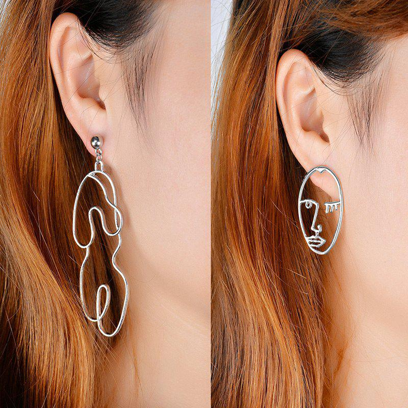 Graphic Asymmetric Face Drop Earrings - SILVER