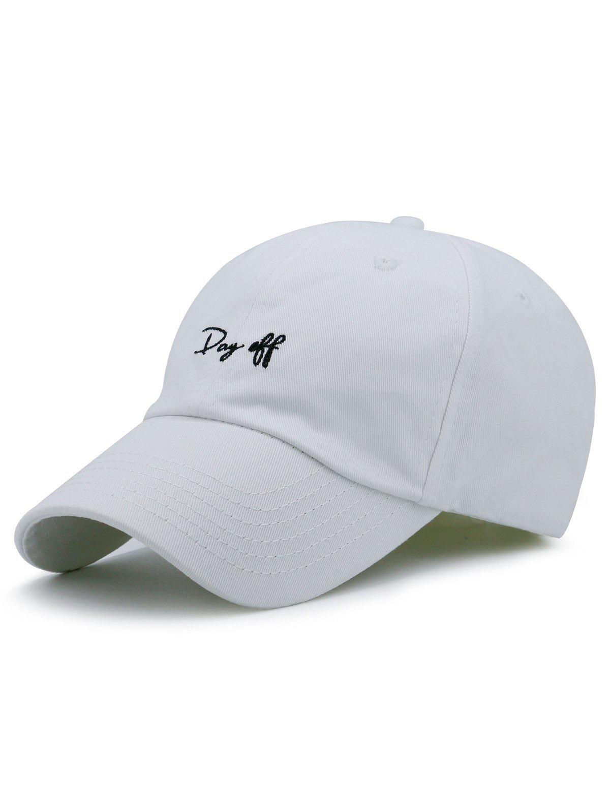 Plain Letters Embroiderid Baseball Cap - WHITE