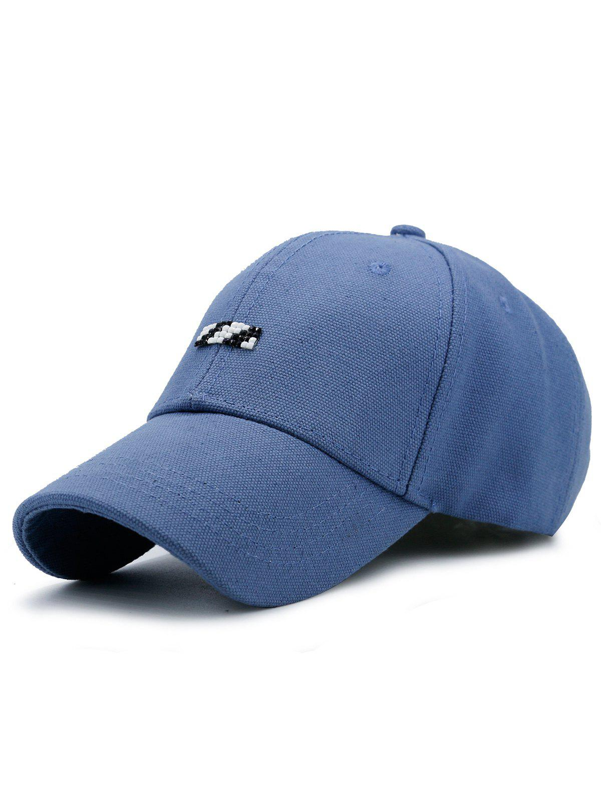 Baseball Hat with Tiny Rectangle Patchwork - BLUE