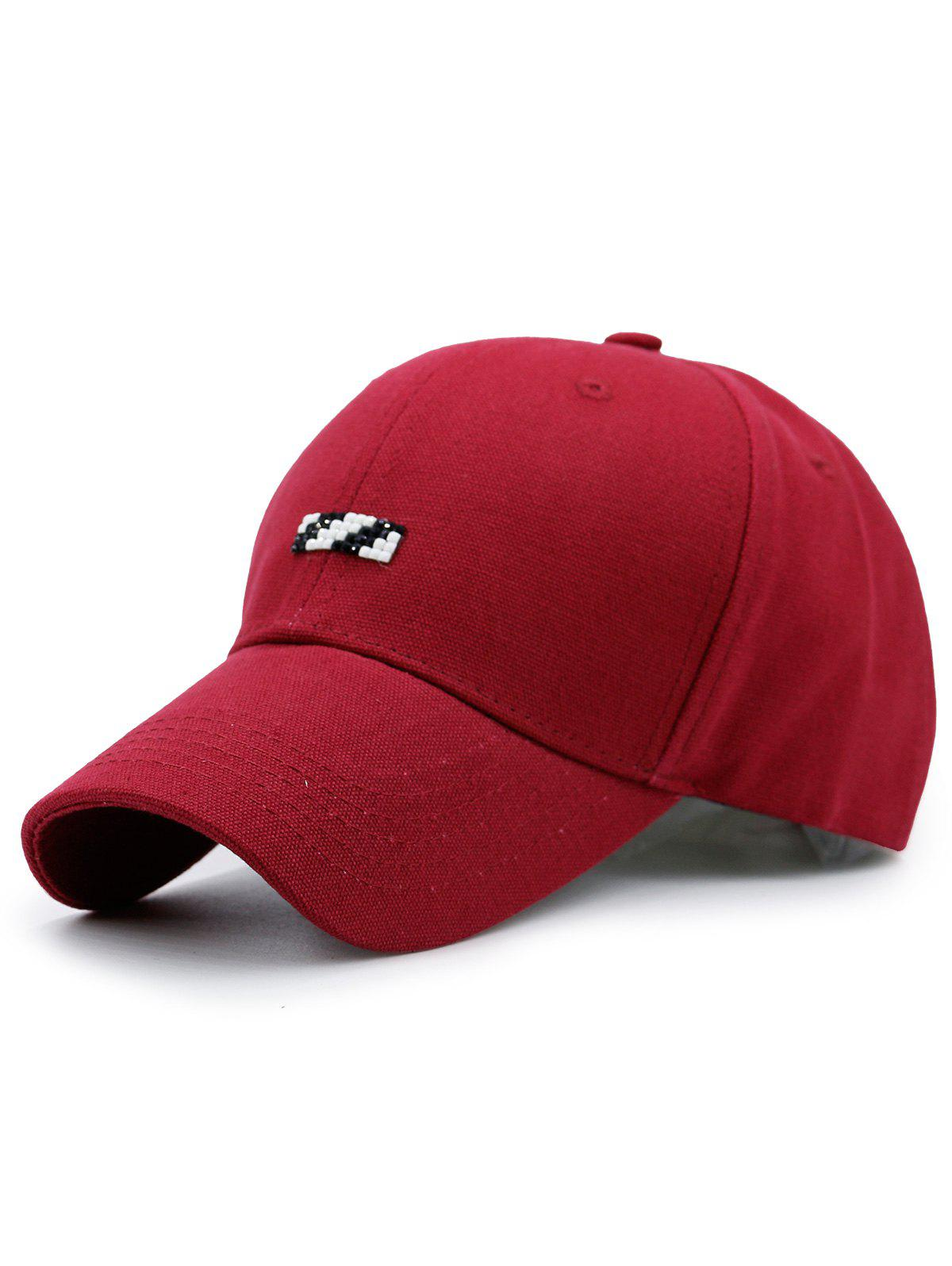 Baseball Hat with Tiny Rectangle Patchwork - RED