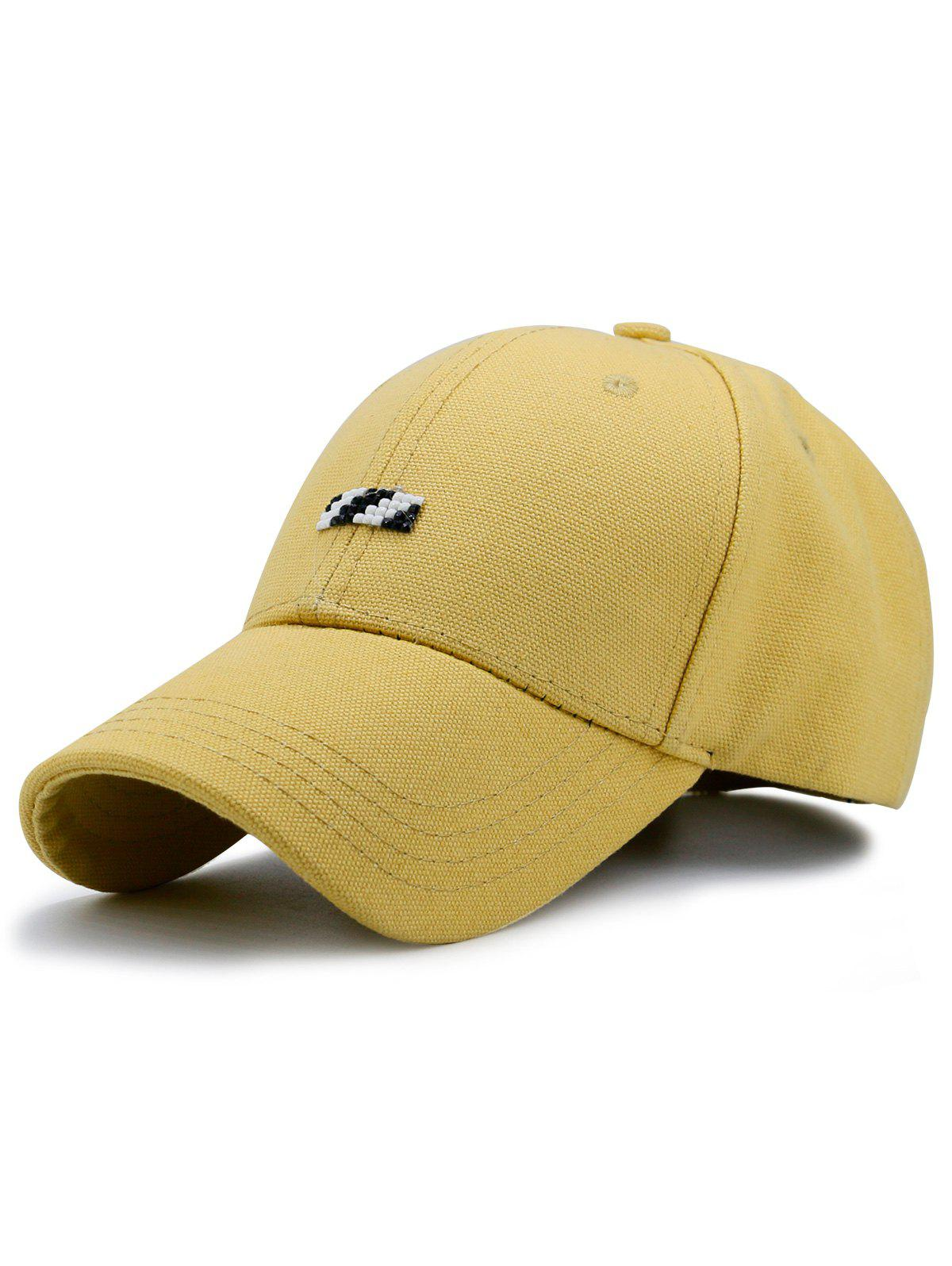 Baseball Hat with Tiny Rectangle Patchwork - YELLOW