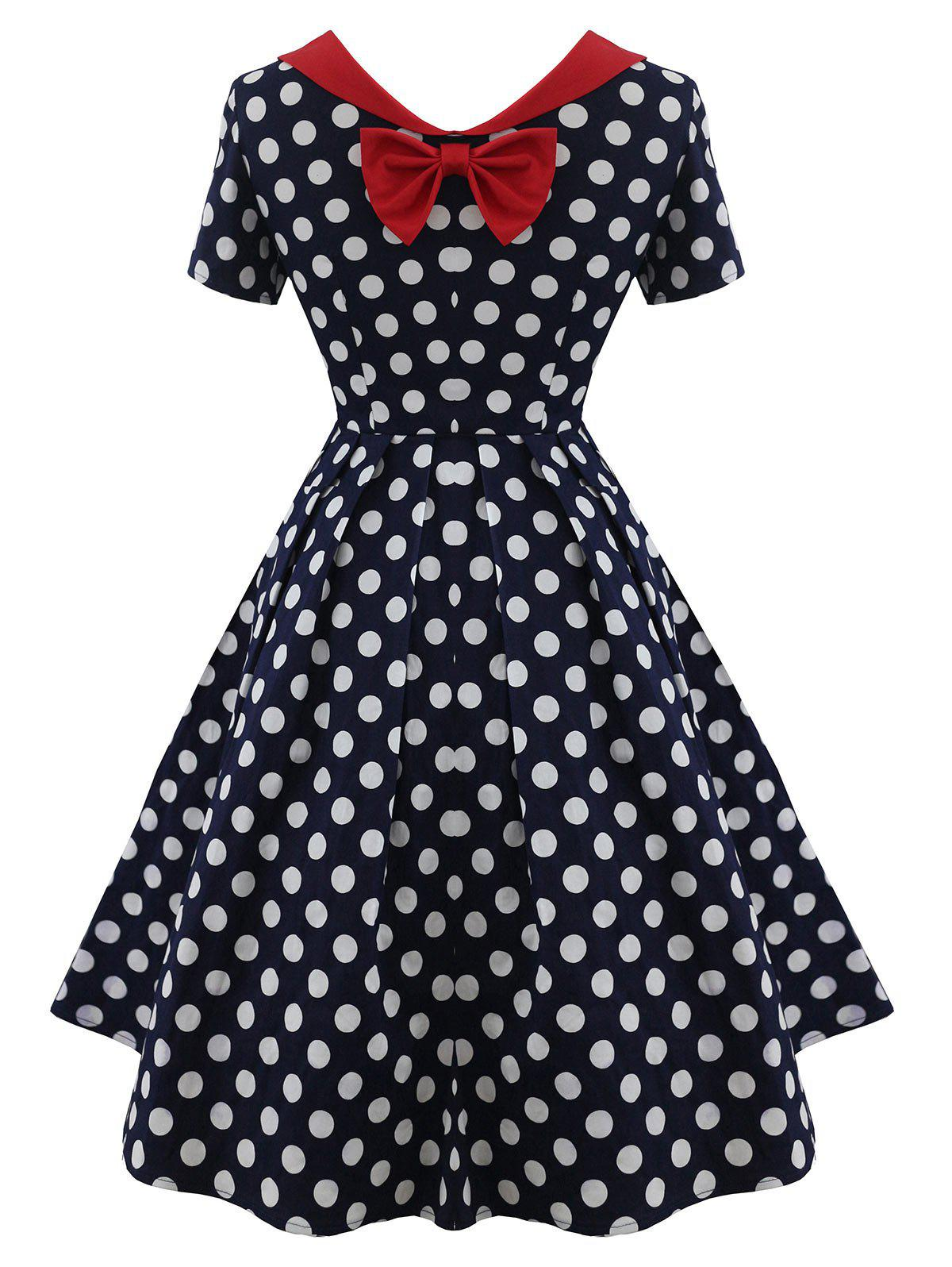 Vintage Back Bowknot Polka Dot Dress - COLORMIX 2XL