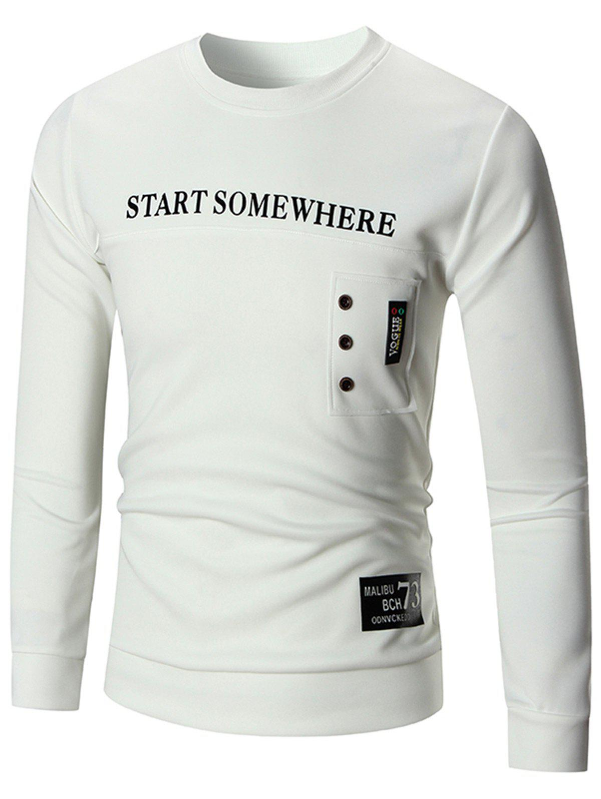 Button Pullover Graphic Sweatshirt - WHITE L