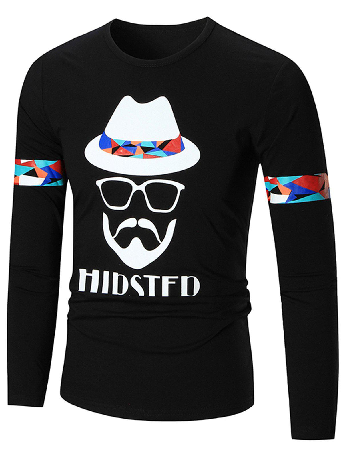Graphic Hipster Long Sleeve T-shirt - BLACK L