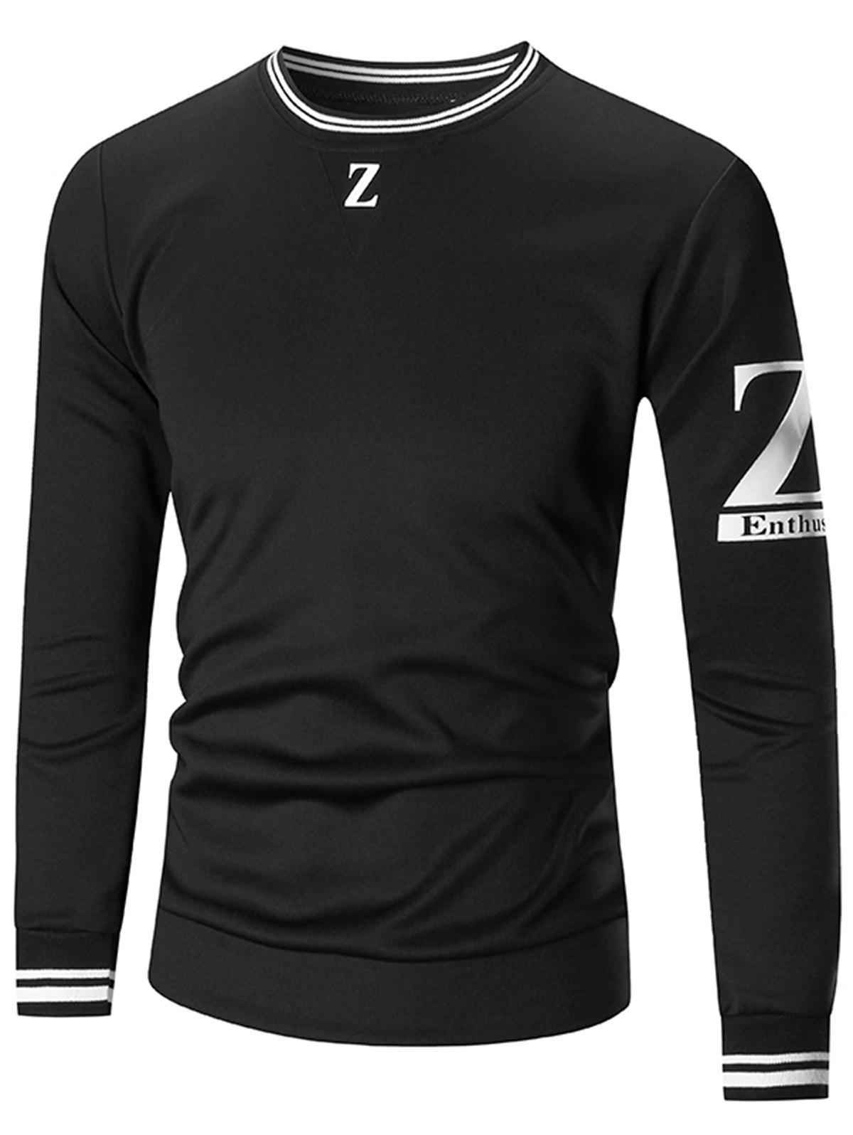 Z Print Crew Neck Sweatshirt - BLACK M