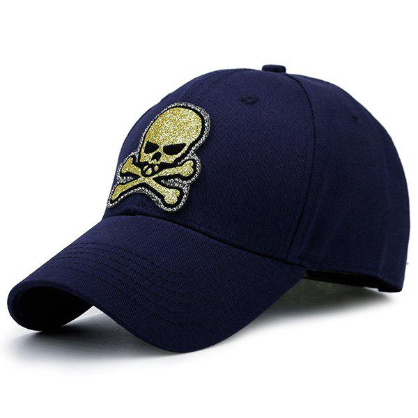 Outdoor Baseball Hat with Shimmer Skull Patchwork - CADETBLUE