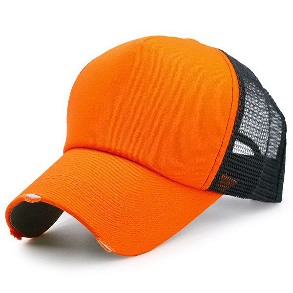 Broken Hole Baseball Cap with Mesh Spliced - BRIGHT ORANGE