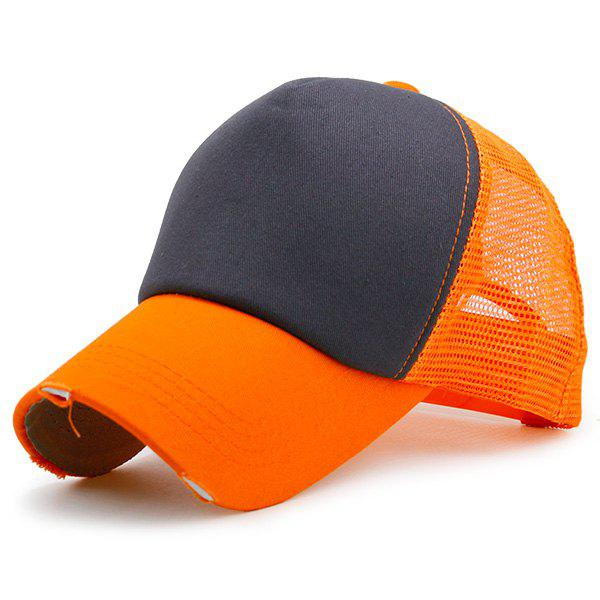 Broken Hole Baseball Cap with Mesh Spliced - BLACK/ORANGE