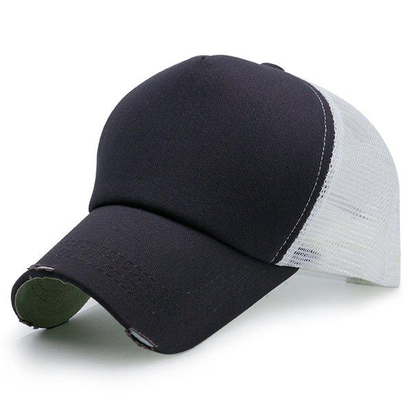 Broken Hole Baseball Cap with Mesh Spliced - BLACK / WHITE