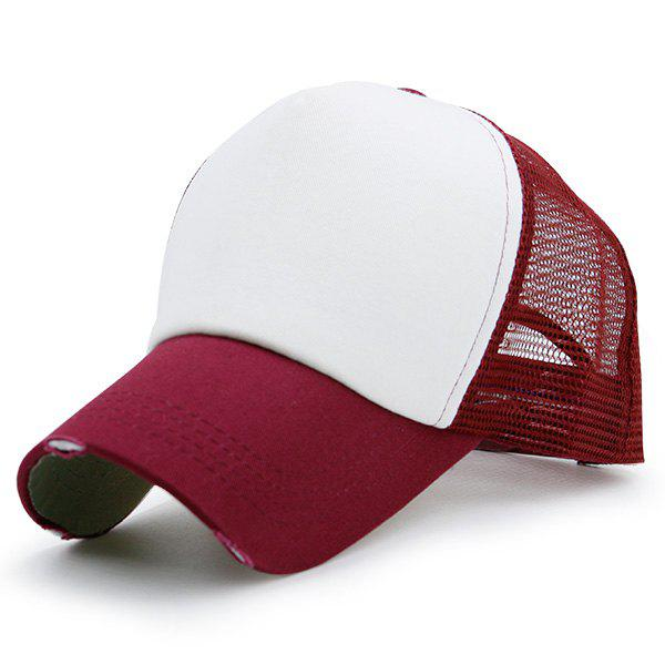 Broken Hole Baseball Cap with Mesh Spliced - WINE RED