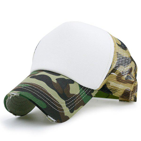 Broken Hole Baseball Cap with Mesh Spliced - ACU CAMOUFLAGE