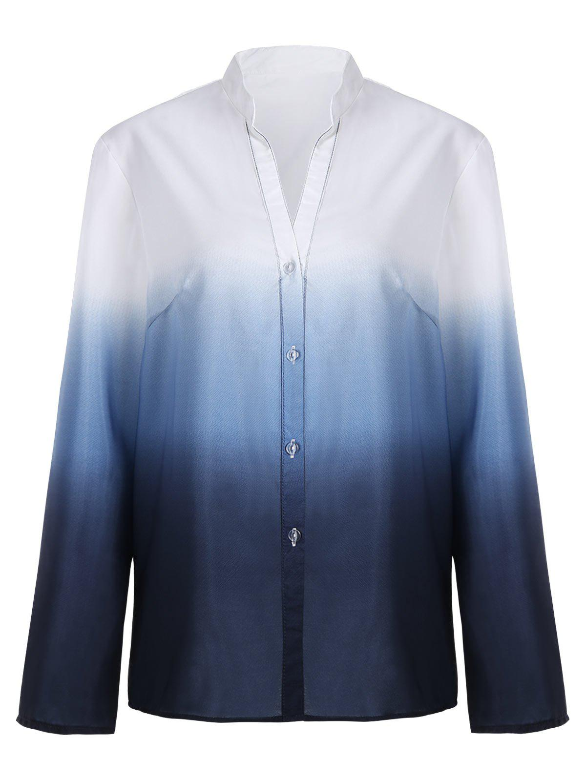 Ombre Button Up Long Sleeve Blouse - CADETBLUE XL