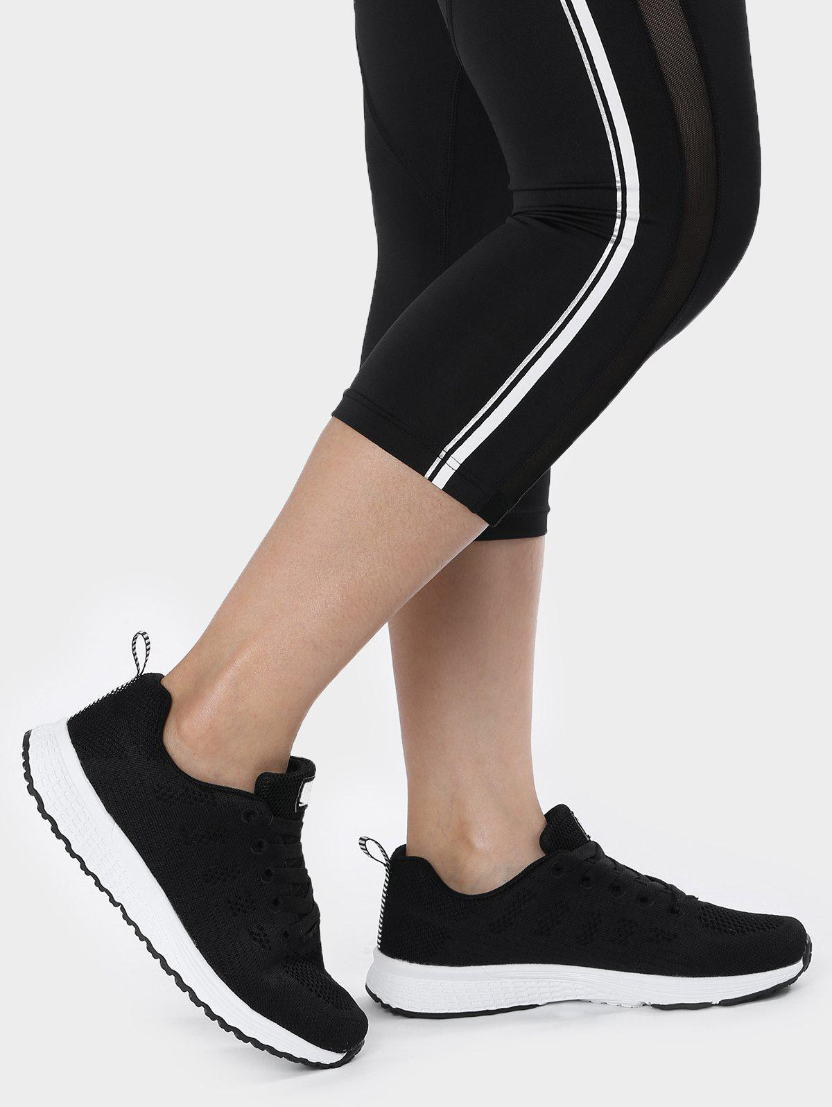 Mesh Eyelet Embroidery Athletic Shoes - Noir 39