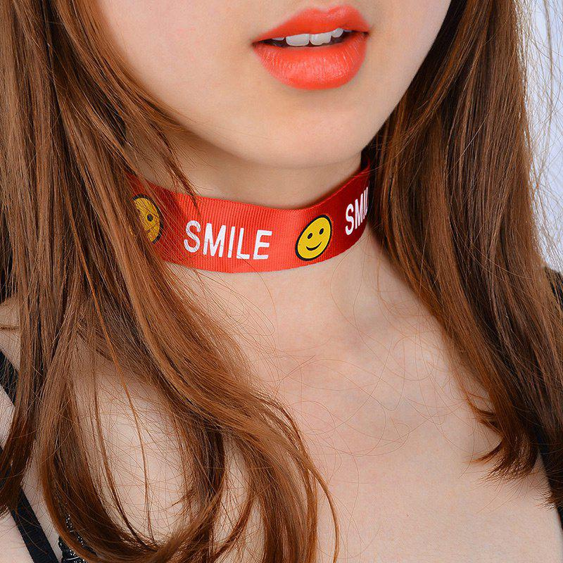 Smile Face Funny Choker Necklace - Rouge