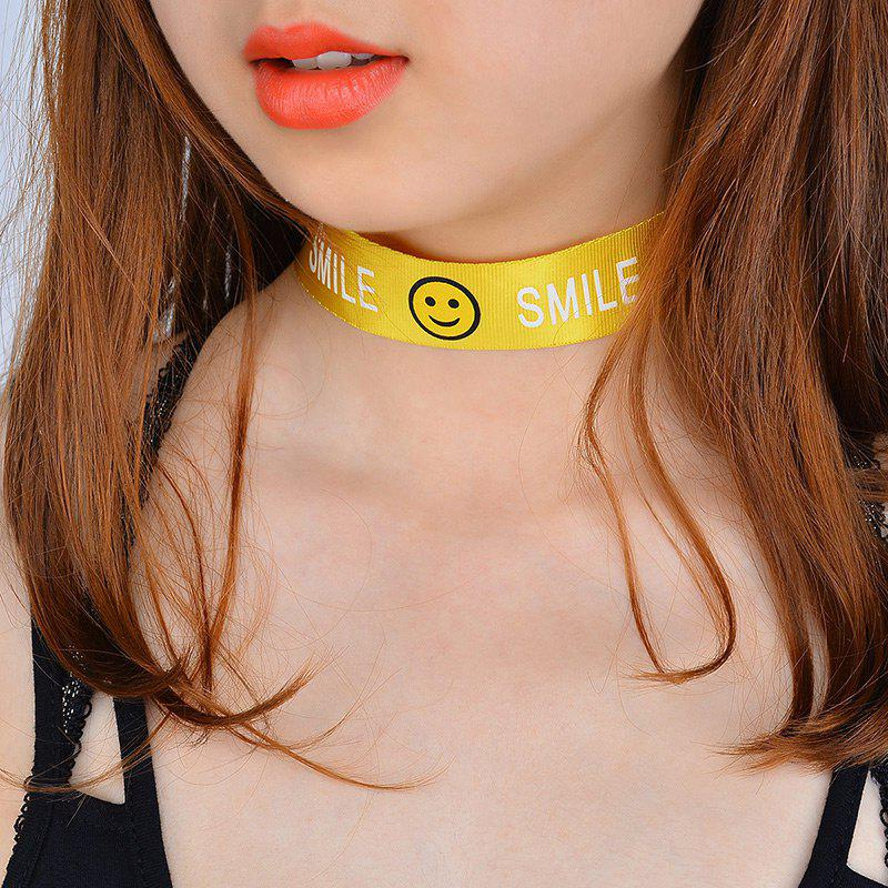Smile Face Funny Choker Necklace - Jaune