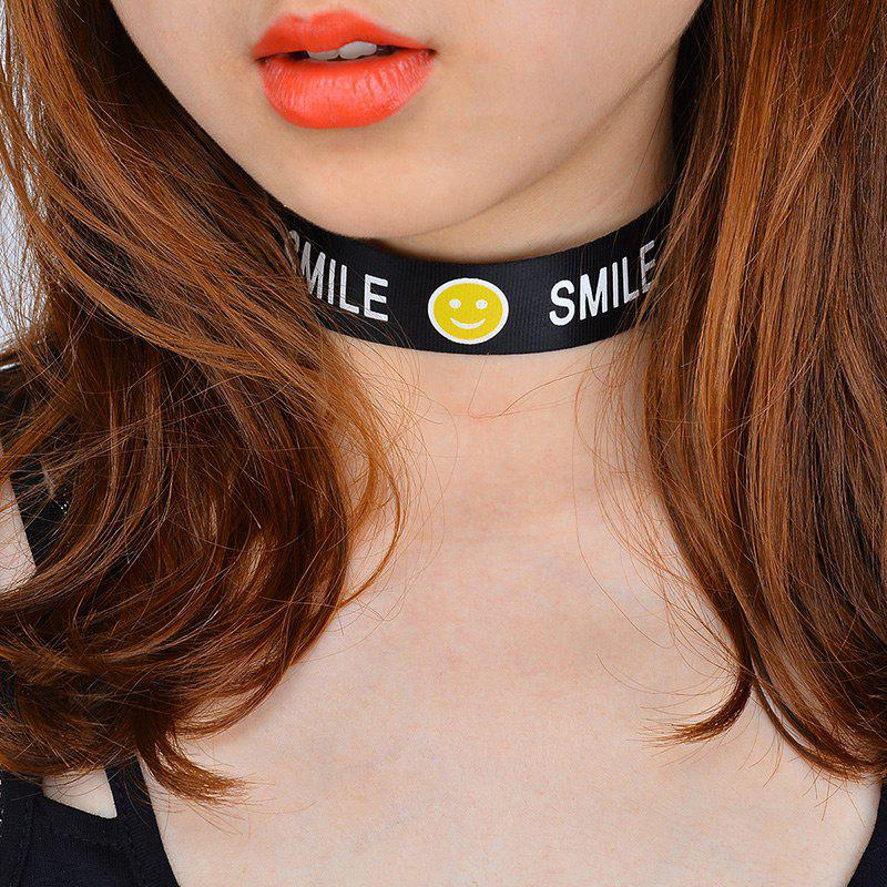 Smile Face Funny Choker Necklace - Noir