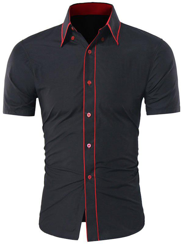 Contrast Trim Button Down Collar Shirt - BLACK XL