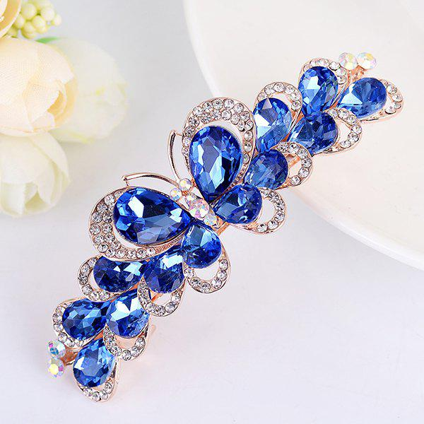 Butterfly Design Faux Gemstone Inlay Rhinestone Barrette - Bleu