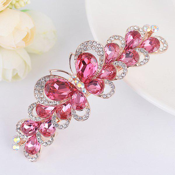 Butterfly Design Faux Gemstone Inlay Rhinestone Barrette - TUTTI FRUTTI