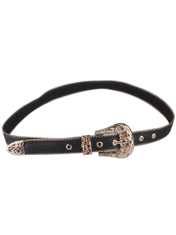 Faux Leather Engraved Retro Pin Buckle Belt - GOLDEN