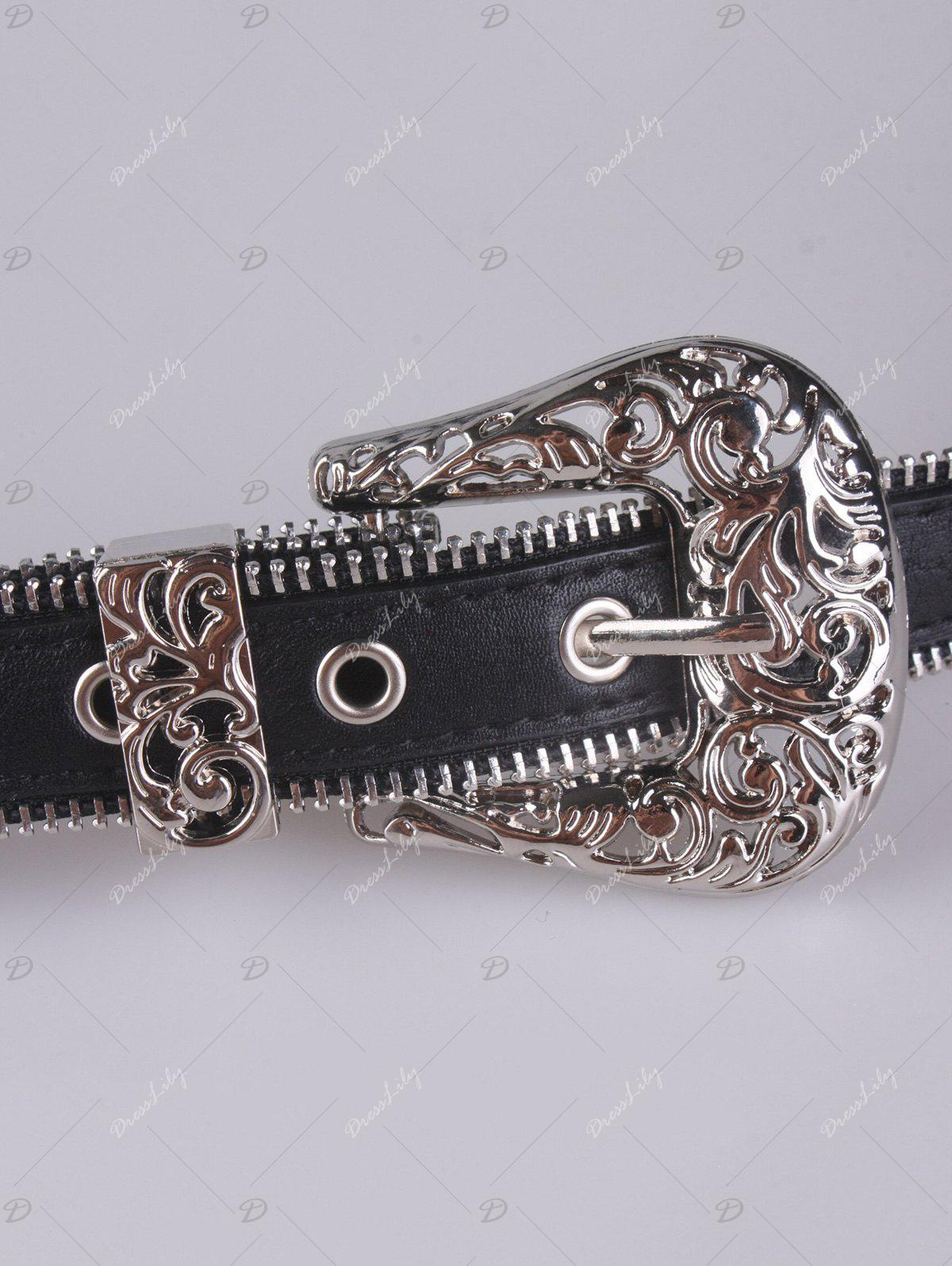 Faux Leather Engraved Retro Pin Buckle Belt - BLACK