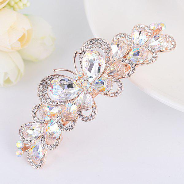Butterfly Design Faux Gemstone Inlay Rhinestone Barrette - WHITE
