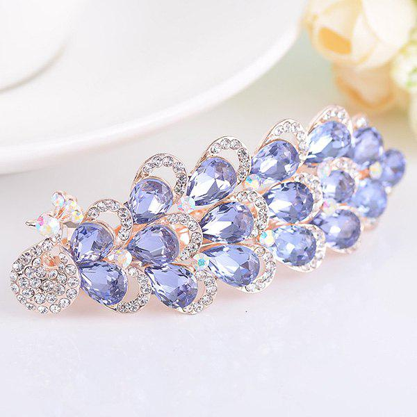Peacock Shape Rhinestone Inlaid Faux Gem Barrette - PURPLE