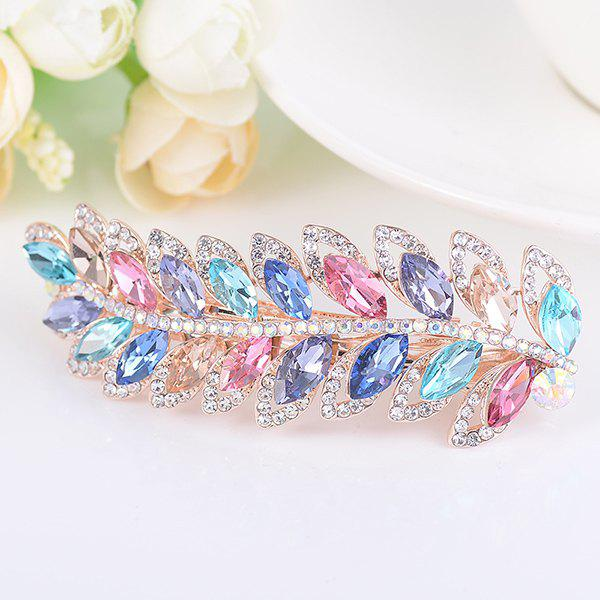 Artificial Gem Leaf Shape Rhinestone Barrette - COLORFUL