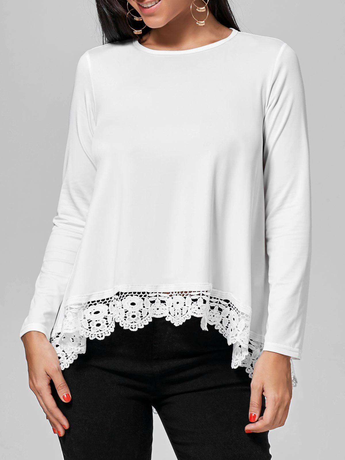 Long Sleeve High Low Lace Insert Tee sanctuary new tan long sleeve lace inset tee xs $49 dbfl
