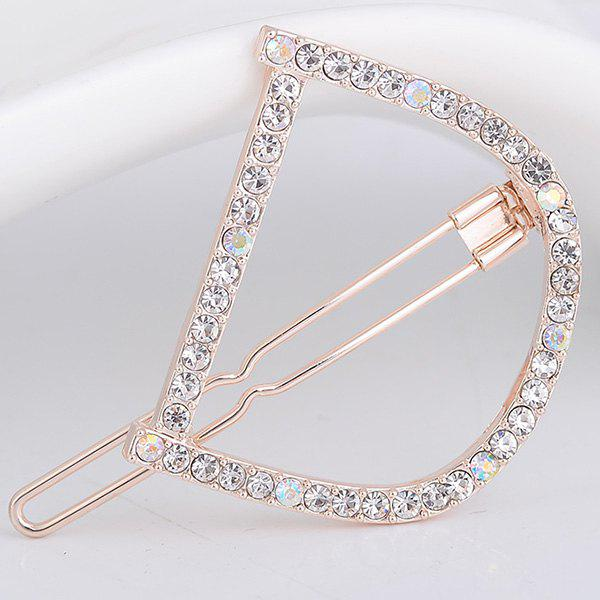 Rhinestones Hollow Out Letter D Hair Clip - WHITE