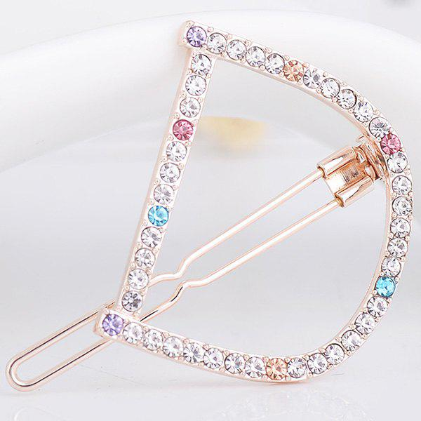 Strass Hollow Out Letter D Hair Clip - coloré