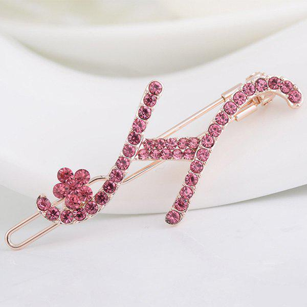 Pierres de Strass Lettre H Shape Hair Clip - Papaye