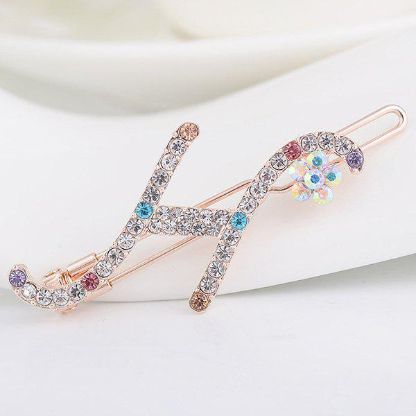 Rhinestones Letter H Shape Hair Clip - COLORFUL