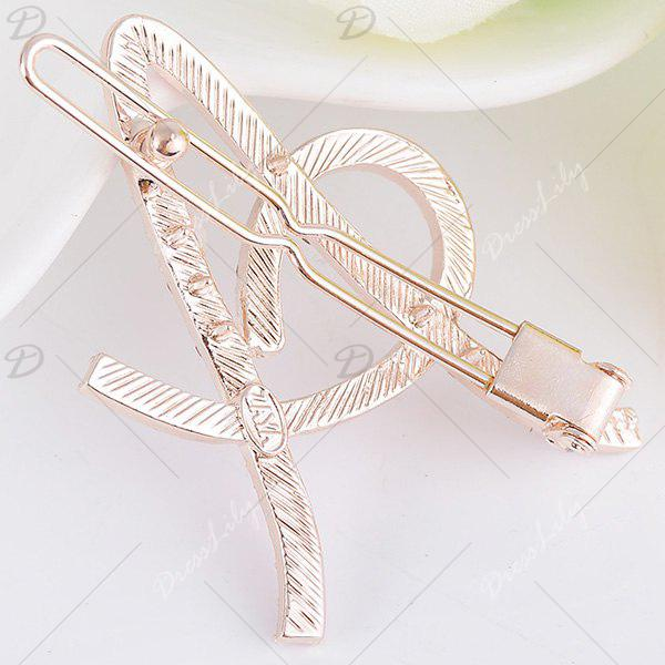 Rhinestones Hollow Out Letter A Hair Clip - SHALLOW PINK